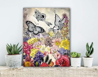 ON SALE 20% OFF Butterfly Garden - stretched canvas print, mixed media collage art, butterfly art, butterfly decor, pink purple girls room