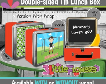 Personalized Soccer Lunchbox - Personalized Metal Lunch Box Chalkboard inside - Double-sided Tin Lunch Box - Personalized Sport Lunchbox