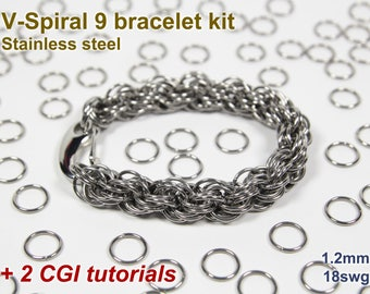 V-Spiral 9 Bracelet Kit, Chainmaille Kit, Stainless Steel, Chainmail Kit, Jump Rings, Lobster Clasp, Chainmaille Tutorial, Spiral Chain