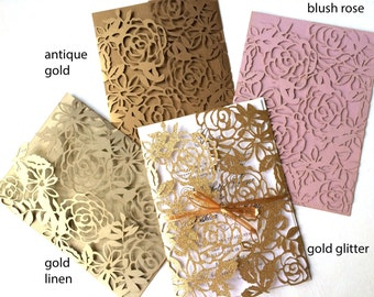 Laser Cut Wedding Invitation Gatefold Floral Design, Gold, Blush Rose, or custom color