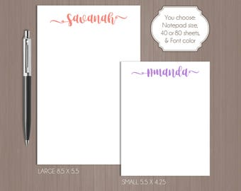 Name Notepad . Personalized Notepad . Teacher Notepad . Gift For Mom . Name Note Pad . Personalized Note Pad . Teacher Note Pad