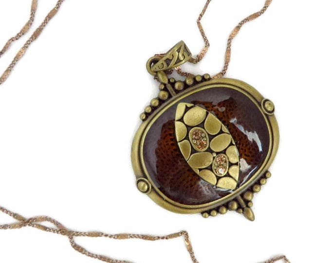 Brown Amulet Pendant - Vintage Necklace, Antiqued Pendant, Rhinestone Studded Gold Filled Chain Necklace, Gift Idea