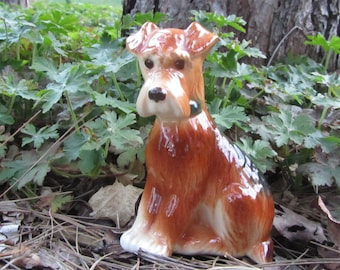 Vintage Terrier Dog Ceramic Figurine Copely Airedale Terriers