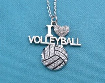 "I Love Volleyball charm pendant in crystals and silver toned metal on an 18"" stainless steel cable chain.  Volleyball necklace.   Volleyball"