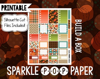 Pumpkin Latte Build a Box Printable Happy Planner Stickers with Silhouette Cut Files