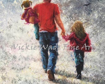 Father Two Daughters Art Print, dad art, father wall art, dad gift, father paintings, two girls, sisters, father's day gift, Vickie Wade Art