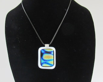 Sale;Dichroic Pendant; Dichroic Necklace; Fused Glass Dichroic Pendant; Fused Glass Dichroic Necklace; Fused Glass Necklace/PDB813