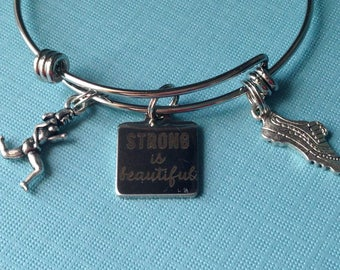 Strong is beautiful bracelet-runner gift, gift for runner, 5K gift, runner bracelet, runner jewelry