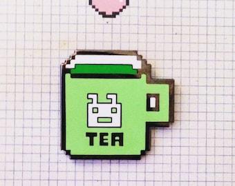 PIXEL TEA enamel pinbadge