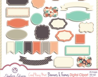 Coral Navy Mint Banners & Frames Digital Clipart, Instant Download