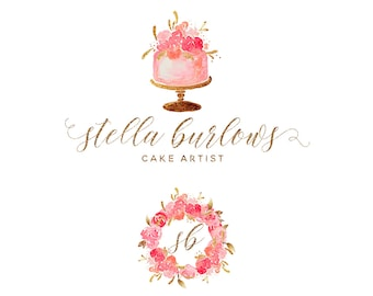 Mini Branding Package, Bakery  Logo and Watermark, Gold Foil and Watercolor Wedding Cake Premade Marketing Kit 2p11