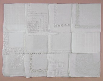 Vintage Hanky Lot,Wedding Hanky Lot,One Dozen White Wedding Vintage Hankies Handkerchiefs (Lot #91)