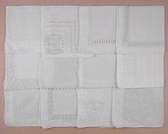 Vintage Hanky Lot of One Dozen White Wedding Vintage Hankies Handkerchiefs  (Lot #91)