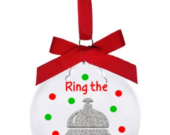 Ring the bell Bunco Christmas ornament. Hostess and gift exchange Bunco ornament