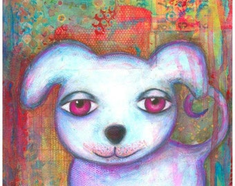 ART PRINT - CASPER  Dog Mixed Media Whimsical Art White Puppy Print A4 size Free local Postage