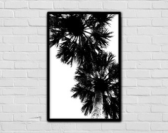Tropical print - Minimalist wall art - Palm tree print - Black and white - Modern art - Home decor - Nature print - Photography prints