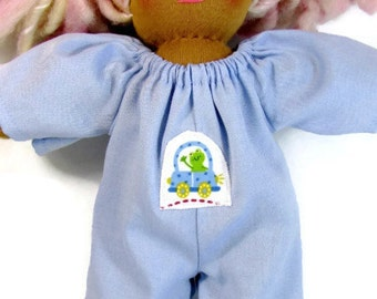 Upcycled fabric jumpsuit for your 12 in doll, handmade frog patch on the front, doll jumpsuit