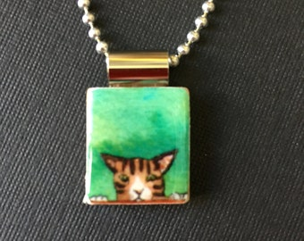 Cat scrabble pendant, handmade kitty scrabble jewelry, kitty cat necklace, recycled scrabble tile pendant, cat lover's gift, tiger cat