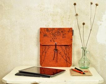 Wild Plant iPad sleeve - iPad Air Felt Case with screenprinted Pattern - Rust Orange Tablet Cover silkscreen