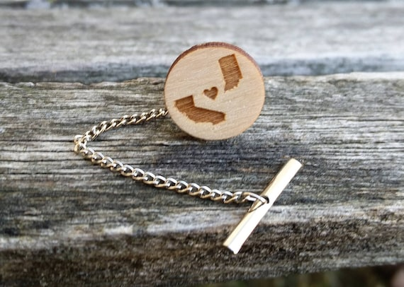 Custom State Tie Tack. Choose Your States. Laser Engraved Wood. Wedding, Groom, Fifth Anniversary, Christmas.