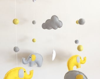 Elephant & Clouds Cot Mobile, Baby Mobile, Nursery Mobile, Elephant Nursery, Nursery Decor, Musical Cot Mobile, Grey Nursery, Cloud Nursery