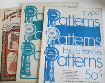 "Vintage Craft Booklets of "" Blue Ribbon Patterns""  set of 3 How to booklets 70's & 80's  used"