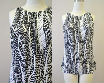 1980s Classique Black and White Printed Swimsuit