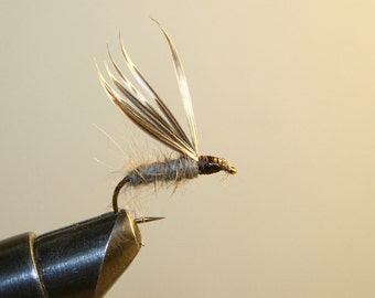Fly Fishing Flies - Made in Michigan - Hand-Tied Fishing Flies - Rabbit Hair Wet Fly with Turkey Feather Wings - Number 10 Hook
