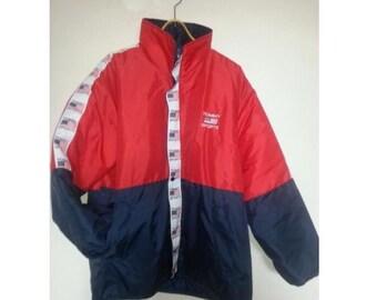 Tommy Hilfiger jacket, vintage red Tommy jacket of 90s hip-hop clothing, 1990s hip hop college jacket, OG, gangsta rap, size M Medium