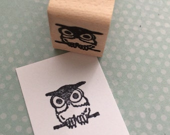 Tiny Owl  Wood Mounted Rubber Stamp 4214