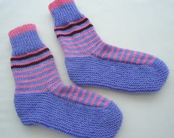 Hand knitted bed socks in Blue with Pink and Brown Strips