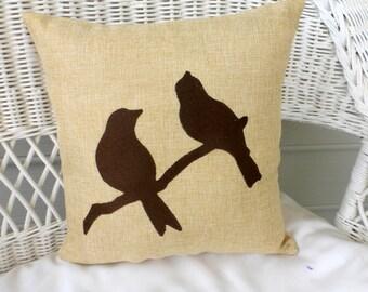Burlap bird pillow - Embroidered Bird pillow - Bird pillow - Lovebird pillow - Pillows - Burlap pillows - Fall pillows - Wildlife pillows