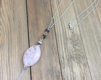 Light pink oval agate tassel stainless steel long necklace