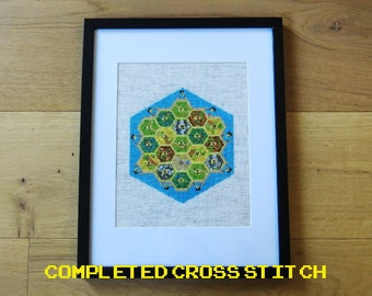 Completed Settlers of Catan Cross Stitch