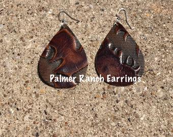 Brown embossed earrings, embossed leather, leather earrings, brown leather earrings, earrings, custom made earrings, embossedleatherearrings