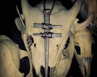 PREORDER Cross of Lorraine Coffin Nail Necklace, Coffin Nails, Cross Necklace, Oddities, Curiosities, Curio, Voodoo, Memento Mori, Crucifix