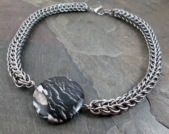 Chainmaille Necklace - Stainless Steel - Full Persian Weave - Men's Necklace - Chainmaille Jewelry - Steel Chain - Jasper Necklace