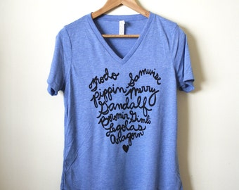 LOTR Fellowship of the Ring Names, Literary Gifts, Women's Relaxed V-neck Tee - Made To Order