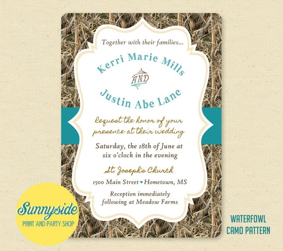 Printable camo wedding invitation the hunt is over solutioingenieria Image collections
