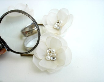 Ivory Hair Flowers for Wedding,  Bridal Hair Clip,  Wedding Hair Accessories Flower Girl Pearl  Hair Pin Headpiece, Fabric Hair Flower