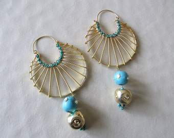 Ethnic Turquoise Dangle Earrings, Statement Earring, Gold Earrings, Blue Earrings, Long Drop Earrings - DE 215