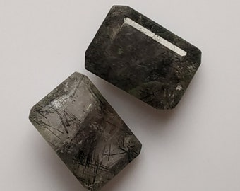 Black Rutile Rectangle Designer Cut Cabochon,Size 14x10x6 MM,Rutilated   AAA ,Loose Gemstone,Smooth Cabochons.Natural Gemstone.