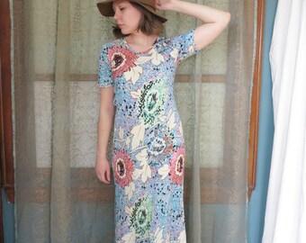1990s Cream Blue Floral Maxi Dress Vintage Rayon Dress Long Flowy Dress Dot Print Boho Gown Festival Dress Summer Gown Floral Print Dress