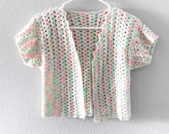 Vtg hand crochet cardigan bolero pastel rainbow shrug