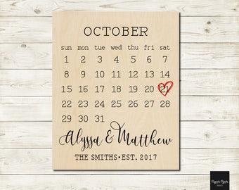 Personalized Calendar Wood Sign, Custom Wedding Date Calendar Wall Art, Bridal Shower Gift, Wood Anniversary Gift, Custom Wedding Date Print
