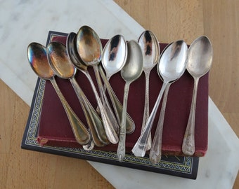 Vintage Silver Plated Teaspoons , LOT of 12, Demi Tasse Spoons , Mismatched Silverware, Made in England