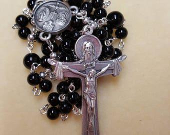 Black Jasper and Black Agate Rosary Beads