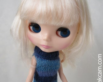 OOAK Blue handknitted Outfit set for Blythe