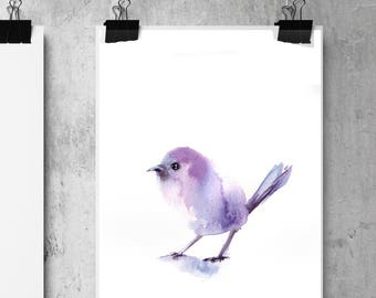 Minimalist purple bird art print, bird watercolor painting print, little birdie fine art print, minimalist bird wall art print