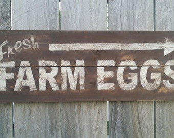 Fresh Farm Eggs Sign, Rustic Sign, Rustic Wall Art, Hand Painted Sign Farmhouse Kitchen Sign